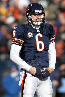 CHICAGO, IL - JANUARY 23:  Quarterback Jay Cutler #6 of the Chicago Bears looks on while taking on the Green Bay Packers in the NFC Championship Game at Soldier Field on January 23, 2011 in Chicago, Illinois.  (Photo by Jamie Squire/Getty Images)