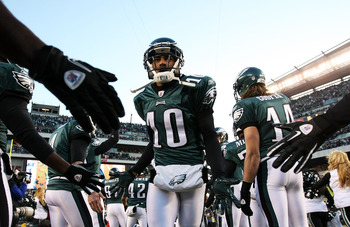 PHILADELPHIA, PA - JANUARY 09:  DeSean Jackson #10 of the Philadelphia Eagles takes the field before playing against the Green Bay Packers in the 2011 NFC wild card playoff game at Lincoln Financial Field on January 9, 2011 in Philadelphia, Pennsylvania.