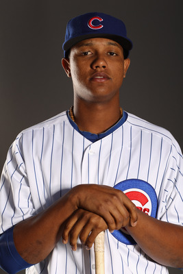 MESA, AZ - FEBRUARY 22:  Starlin Castro #13 of the Chicago Cubs poses for a portrait during media photo day at Finch Park on February 22, 2011 in Mesa, Arizona.  (Photo by Ezra Shaw/Getty Images)