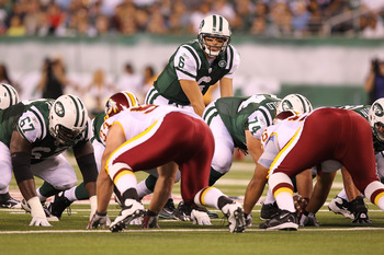 EAST RUTHERFORD, NJ - AUGUST 27:  Mark Sanchez #6 of the New York Jets in action against the Washington Redskins  during their preseason game on August 27, 2010 at the New Meadowlands Stadium  in East Rutherford, New Jersey.  (Photo by Al Bello/Getty Imag