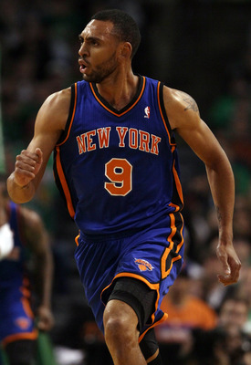 BOSTON, MA - APRIL 17:  Jared Jeffries #9 of the New York Knicks celebrates after teammate Toney Douglas #23 made a shot in Game One of the Eastern Conference Quarterfinals in the 2011 NBA Playoffs on April 17, 2011 at the TD Garden in Boston, Massachuset