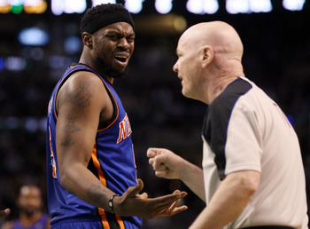 BOSTON, MA - APRIL 19:  Bill Walker #5 of the New York Knicks reacts after a technical fouled is called against him in the fourth quarter against the Boston Celtics in Game Two of the Eastern Conference Quarterfinals in the 2011 NBA Playoffs on April 19,
