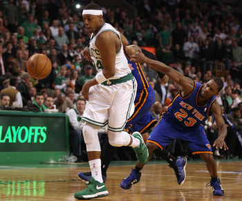 BOSTON, MA - APRIL 19:  Paul Pierce #34 of the Boston Celtics gets to the ball before Toney Douglas #23 of the New York Knicks in Game Two of the Eastern Conference Quarterfinals in the 2011 NBA Playoffs on April 19, 2011 at the TD Garden in Boston, Massa