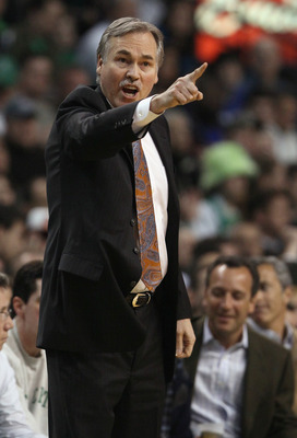 BOSTON, MA - APRIL 19: Mike D'Antoni of the New York Knicks directs his players in the first quarter against the Boston Celtics in Game Two of the Eastern Conference Quarterfinals in the 2011 NBA Playoffs on April 19, 2011 at the TD Garden in Boston, Mass