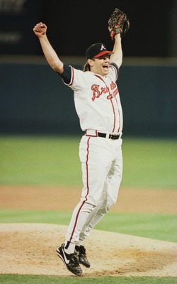 28 OCT 1995:  RELIEF PITCHER MARK WOHLERS OF THE ATLANTA BRAVES CELEBRATES WINNING THE WORLD SERIES AT FULTON COUNTY STADIUM IN ATLANTA, GEORGIA.  ATLANTA DEFEATED CLEVELAND 1-0 TO TAKE THE SERIES 4 GAMES TO 2.  Mandatory Credit: Rick Stewart/ALLSPORT