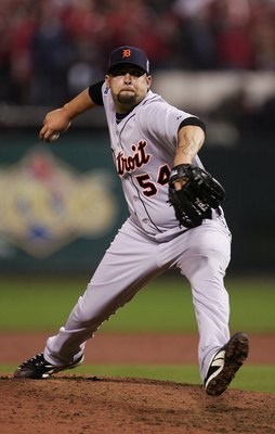 ST LOUIS - OCTOBER 26:  Relief pitcher Joel Zumaya #54 of the Detroit Tigers pitches against the St. Louis Cardinals during Game Four of the 2006 World Series on October 26, 2006 at Busch Stadium in St. Louis, Missouri. The Cardinals defeated the Tigers 5