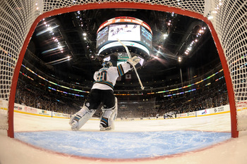 LOS ANGELES, CA - APRIL 19:  Antero Niittymaki #30 of the San Jose Sharks celebrates after the game winning goal by Devin Setoguchi #16 to beat the Los Angeles Kings in game three of the Western Conference Quarterfinals during the 2011 NHL Stanley Cup Pla