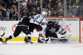 LOS ANGELES, CA - APRIL 19:  Joe Pavelski #8 of the San Jose Sharks scores a goal against the Los Angeles Kings in the second period of game three of the Western Conference Quarterfinals during the 2011 NHL Stanley Cup Playoffs at Staples Center on April