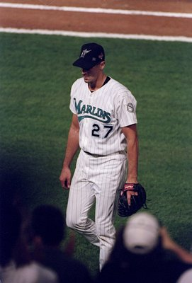25 Oct 1997:  Pitcher Kevin Brown of the Florida Marlins walks off the field during the sixth game of the World Series against the Cleveland Indians at Pro Player Stadium in Miami, Florida.  The Indians won the game 4-1. Mandatory Credit: Brian Bahr  /All