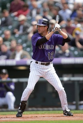 DENVER - APRIL 4:  Steve Finley #12 of the Colorado Rockies bats against the Arizona Diamondbacks at Coors Field on April 4, 2007 in Denver, Colorado. The Rockies won 11-4. (Photo by Doug Pensinger/Getty Images)