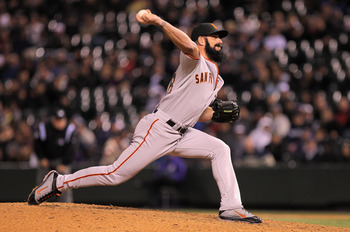 DENVER, CO - APRIL 19:  Closer Brian Wilson #38 of the San Francisco Giants pitches in relief in the ninth inning against the Colorado Rockies at Coors Field on April 19, 2011 in Denver, Colorado. Wilson earned a save as the Giants defeated the Rockies 6-