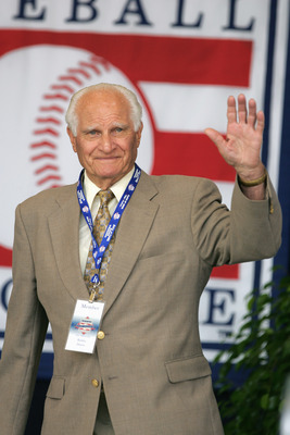 COOPERSTOWN, NY - JULY 31: Hall of Famer Bobby Doerr attends the Baseball Hall of Fame Induction ceremony on July 31, 2005 at the Clark Sports Complex in Cooperstown, New York.  (Photo by Ezra Shaw/Getty Images)