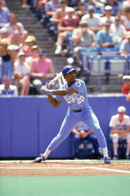 1986:  Frank White #20 of the Kansas City Royals stands ready at the plate during a game in 1986.  (Photo by Rick Stewart/Getty Images