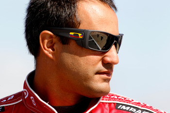 TALLADEGA, AL - APRIL 16:  Juan Pablo Montoya, driver of the #42 Target Chevrolet, stands on the grid during qualifying for the NASCAR Sprint Cup Series Aaron's 499 at Talladega Superspeedway on April 16, 2011 in Talladega, Alabama.  (Photo by Todd Warsha