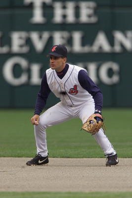 08  Apr 2002 : Omar Vizquel #13 of the Cleveland Indians in action  during the opening day game against  the Minnesota Twins at Jacobs Field in Cleveland, Ohio. The Indians won 9-5. DIGITAL IMAGE. Mandatory Credit: Tom Pidgeon /Getty Images