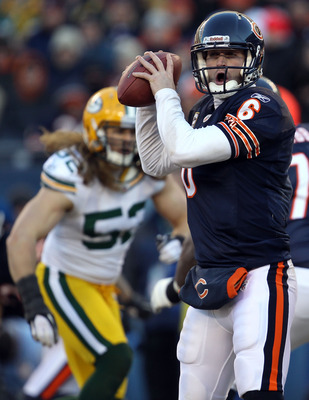 CHICAGO, IL - JANUARY 23:  Quarterback Jay Cutler #6 of the Chicago Bears looks to throw the ball against the Green Bay Packers in the NFC Championship Game at Soldier Field on January 23, 2011 in Chicago, Illinois.  (Photo by Jonathan Daniel/Getty Images