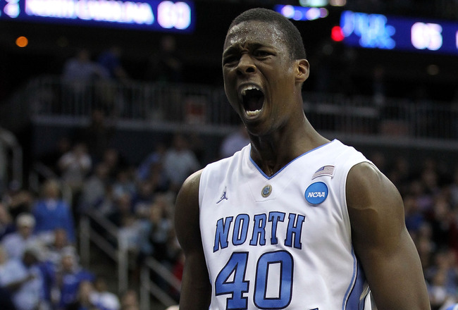 NEWARK, NJ - MARCH 27:  Harrison Barnes #40 of the North Carolina Tar Heels reacts after a play during the second half of the game against the Kentucky Wildcats in the east regional final of the 2011 NCAA men's basketball tournament at Prudential Center o