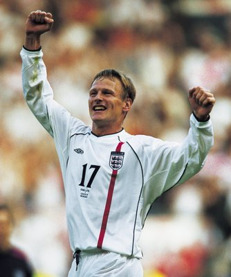 Teddy Sheringham celebrates England's qualification for the 2002 World Cup