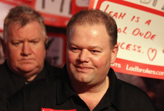 LONDON, ENGLAND - JANUARY 01:  Raymond van Barneveld of The Netherlands arrives for his match against Gary Anderson of England during the quarter finals of the 2011 Ladbrokes.com World Darts Championship at Alexandra Palace on January 1, 2011 in London, E