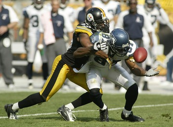 PITTSBURGH - OCTOBER 7:  Ryan Clark #25 of the Pittsburgh Steelers breaks up a pass reception by Ben Obomanu #87 of the Seattle Seahawks at Heinz Field October 7, 2007 in Pittsburgh, Pennsylvania. The Steelers won 21-0.  (Photo by Rick Stewart/Getty Image