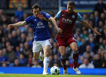 LIVERPOOL, ENGLAND - APRIL 02:  Leighton Baines of Everton challenges Kyle Walker of Aston Villa for the ball during the Barclays Premier League match between Everton and Aston Villa at Goodison Park on April 2, 2011 in Liverpool, England.  (Photo by Alex