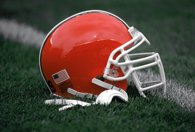 CLEVELAND - SEPTEMBER 15:  Detail of the helmet of the Cleveland Browns before the NFL game against the Cincinnati Bengals on September 15, 2002 at Cleveland Browns Stadium in Cleveland, Ohio.  The Browns won 20-7.  (Photo by Paul Spinelli/Getty Images)