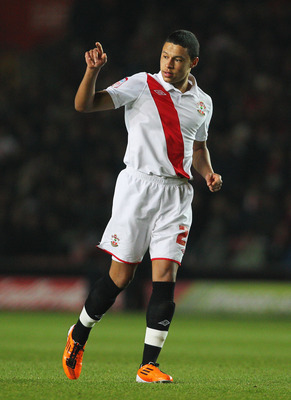 SOUTHAMPTON, ENGLAND - JANUARY 29:  Alex Chamberlain of Southampton points during the FA Cup sponsored by E.ON 4th Round match between Southampton and Manchester United at St Mary's Stadium on January 29, 2011 in Southampton, England.  (Photo by Clive Ros
