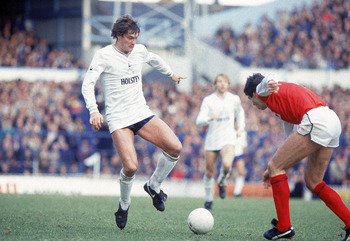Undated:  Glenn Hoddle of Tottenham Hotspur takes on Arsenal defender David O''Leary during the North London Derby League match at White Hart Lane in London. \ Mandatory Credit: Steve Powell /Allsport