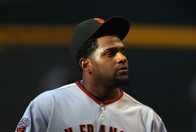 PHOENIX, AZ - APRIL 16:  Pablo Sandoval #48 of the San Francisco Giants during the Major League Baseball game against the Arizona Diamondbacks at Chase Field on April 16, 2011 in Phoenix, Arizona. The Giants defeated the Diamondbacks 5-3.  (Photo by Chris