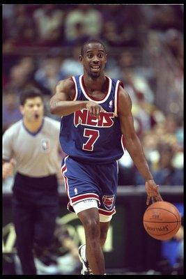 9 Jan 1996:  Kenny Anderson of the New Jersey Nets gestures during a game against the Orlando Magic played at the Orlando Arena in Orlando, Florida.  The Magic won the game, 92-84. Mandatory Credit: ALLSPORT USA/Allsport