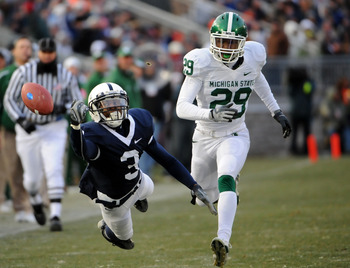 STATE COLLEGE, PA - NOVEMBER 22:  Deon Butler #3 of the Penn State Nittany Lions can't haul in a pass in front of Chris L. Rucker #29 of the Michigan State Spartans on November 22, 2008 at Beaver Stadium in State College, Pennsylvania. Penn State won the