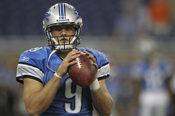 DETROIT - AUGUST 28: Matthew Stafford #9 of the Detroit Lions warms up prior to the start of the preseason game against the Cleveland Browns at Ford Field on August 28, 2010 in Detroit, Michigan. (Photo by Leon Halip/Getty Images)