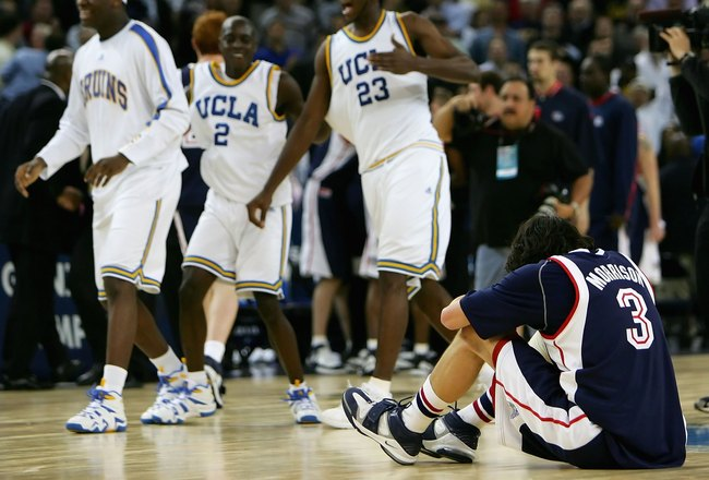 OAKLAND, CA - MARCH 23:  Adam Morrison #3 of the Gonzaga Bulldogs hangs his head after losing to the UCLA Bruins during the third round game of the NCAA Division I Men's Basketball Tournament at the Arena in Oakland on March 23, 2006 in Oakland, Californi