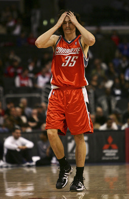 LOS ANGELES, CA - FEBRUARY 26:  Adam Morrison #35 of the Charlotte Bobcats reacts to his team trailing 100-93 in the final minutes of the game against the Los Angeles Clippers during the quarter at the Staples Center on February 26, 2007 in Los Angeles, C