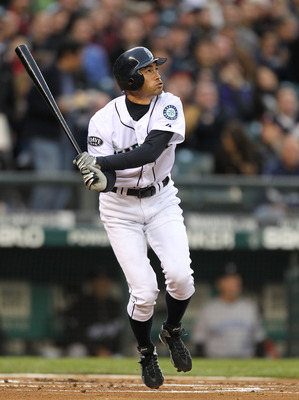 SEATTLE, WA - APRIL 12:  Ichiro Suzuki #51 of the Seattle Mariners bats against the Toronto Blue Jays at Safeco Field on April 12, 2011 in Seattle, Washington. (Photo by Otto Greule Jr/Getty Images)