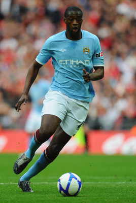 LONDON, ENGLAND - APRIL 16:  Yaya Toure of Manchester City in action during the FA Cup sponsored by E.ON semi final match between Manchester City and Manchester United at Wembley Stadium on April 16, 2011 in London, England.  (Photo by Mike Hewitt/Getty I