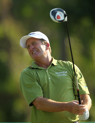 LUTZ, FL - APRIL 15: Fred Funk hits his tee shot on the 13th hole during the first round of the Outback Steakhouse Pro-Am at TPC Tampa Bay on April 15, 2011 in Lutz, Florida.  (Photo by Mike Ehrmann/Getty Images)