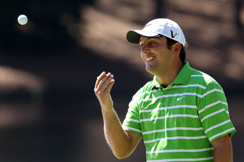 AUGUSTA, GA - APRIL 06:  Francesco Molinari of Italy tosses his golf ball in the air during the Par 3 Contest prior to the 2011 Masters Tournament at Augusta National Golf Club on April 6, 2011 in Augusta, Georgia.  (Photo by Andrew Redington/Getty Images
