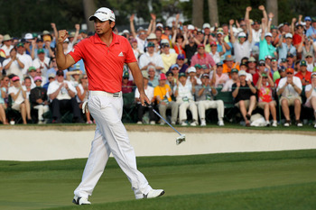 AUGUSTA, GA - APRIL 10:  Jason Day of Australia waves after hitting his final putt on the 18th hole during the final round of the 2011 Masters Tournament at Augusta National Golf Club on April 10, 2011 in Augusta, Georgia.  (Photo by Jamie Squire/Getty Im