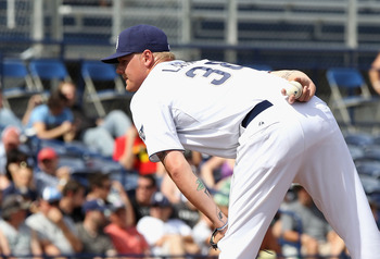 PEORIA, AZ - MARCH 06:  Starting pitcher Mat Latos #38 of the San Diego Padres pitches against the Oakland Athletics during the spring training game at Peoria Stadium on March 6, 2011 in Peoria, Arizona.  (Photo by Christian Petersen/Getty Images)