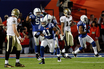 MIAMI GARDENS, FL - FEBRUARY 07: Antoine Bethea #41 of the Indianapolis Colts celebrates after stopping the New Orleans Saints on a fourth and goal in the second quarter during Super Bowl XLIV on February 7, 2010 at Sun Life Stadium in Miami Gardens, Flor