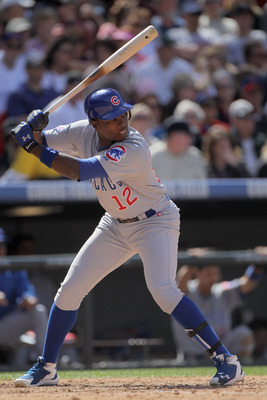 DENVER, CO - APRIL 17:  Alfonso Soriano #12 of the Chicago Cubs takes an at bat against the Colorado Rockies at Coors Field on April 17, 2011 in Denver, Colorado.  (Photo by Doug Pensinger/Getty Images)