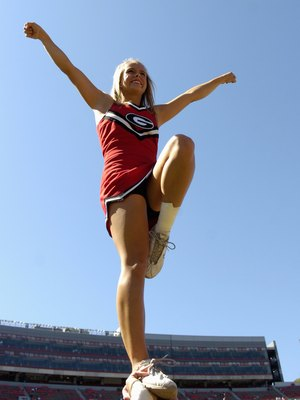 ATHENS, GA - SEPTEMBER 29: A cheerleader from the Georgia Bulldogs entertains during play against the Mississippi Rebels at Sanford Stadium on September 29, 2007 in Athens, Georgia.  Georgia won 45 - 17. (Photo by Al Messerschmidt/Getty Images)