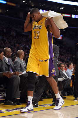 LOS ANGELES, CA - APRIL 12:  Andrew Bynum #17 of the Los Angeles Lakers leaves the court after an injury in the game against the San Antonio Spurs at Staples Center on April 12, 2011 in Los Angeles, California.  NOTE TO USER: User expressly acknowledges a