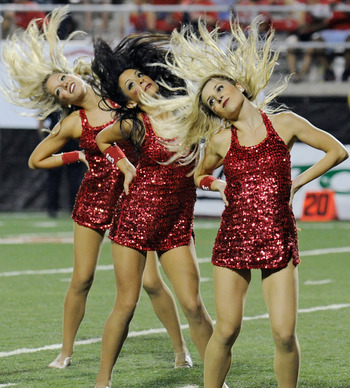 LAS VEGAS - SEPTEMBER 04:  Members of the UNLV Rebels dance team perform during the Rebels' game against the Wisconsin Badgers at Sam Boyd Stadium September 4, 2010 in Las Vegas, Nevada. Wisconsin won 41-21.  (Photo by Ethan Miller/Getty Images)