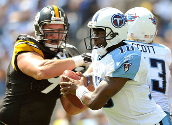 NASHVILLE, TN - SEPTEMBER 19:  Vince Young #10 of the Tennessee Titans rolls out against the Pittsburgh Steelers during the first half at LP Field on September 19, 2010 in Nashville, Tennessee.  (Photo by Grant Halverson/Getty Images)