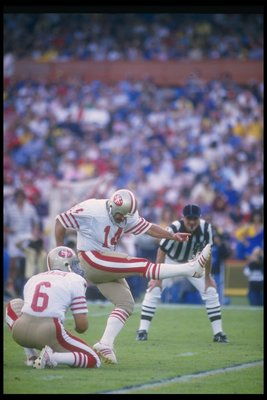 27 Oct 1985:  Kicker Ray Wersching of the San Francisco 49ers kicks the ball during a game against the Los Angeles Rams at Anaheim Stadium in Anaheim, California.  The 49ers won the game, 28-14. Mandatory Credit: Mike Powell  /Allsport