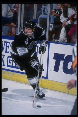 17 Feb 1992: Defenseman Marty McSorley of the Los Angeles Kings during a game against the Boston Bruins at the Great Western Forum in Inglewood, California.