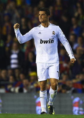 Cristiano Ronaldo celebrates during Real Madrid's 2011 Copa Del Rey victory