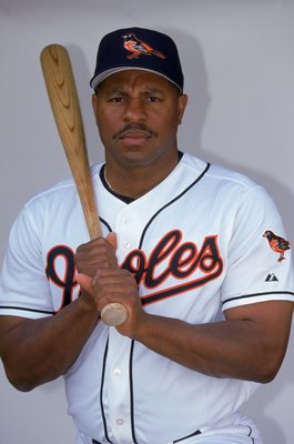 28 Feb 2000: Outfielder Albert Belle #88 of the Baltimore Orioles poses for a studio portrait during Spring Training Photo Day in Ft. Lauderdale, Florida. Mandatory Credit: Eliot J. Schechter  /Allsport